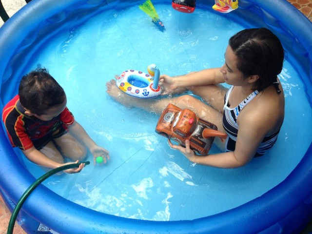 Inflatable pooltime means quality time with my boy.
