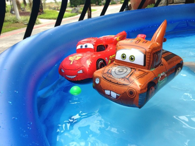 Timmy and I raced cars by pushing an inflatable Lighting McQueen and Mater around the pool. Fun!