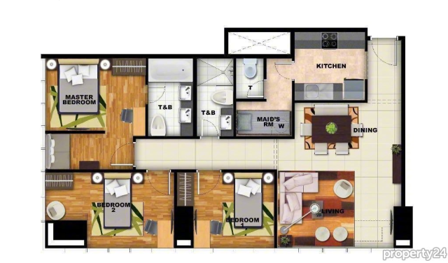 Floor Plan of this 3-bedroom Uptown Apartment in BGC