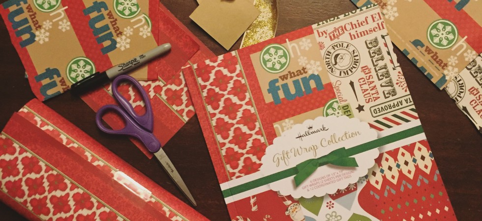 This Hallmark Christmas gift wrap pad is a very organized way to get started on your giftwrapping!