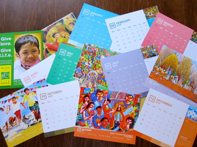 Each card on the desk calendar is two-sided. The month on one side, and artwork on the other side. They sure do add a dose of happiness to any space the calendar occupies!